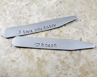 I Love You Daddy - Personalized Collar Stays - Set of Two - Engraved - Father's Day - Grandpa - Dad - Men's Gift - Valentine's Day