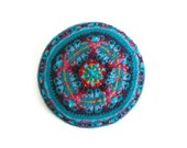 Fair Isle Tam Knitted in Turquoise, Sky Blue, Red and Purple - Beret
