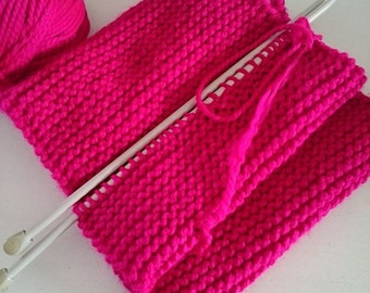 Magenta Wool Chunky Knit Scarf, Long, Winter, Hand Knit, Oversized, Wrap, Unisex, Fashion Scarf, Warm Scarf, Womens Scarves, Mens Scarf