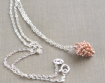 Rose Gold Pinecone Necklace, Sterling Silver, Winter Woodland Wedding, Nature Jewelry, Winter Wedding, Bridesmaid Gift, Lapin du Printemps