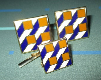 Vintage MOD 60s Optical 3-Dimensional Enamel Blue and Gold Cuff Links and Tie Tack Panton Era
