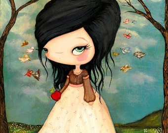 Snow White Print Forest Fairy Tale Bird Girl Wall Art