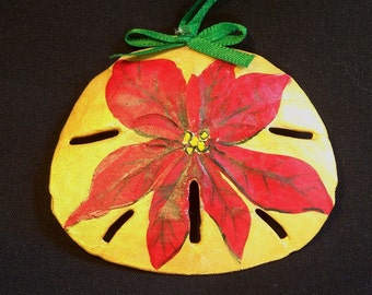Christmas Ornament - Hand painted Sand Dollar - Gold and Red Poinsettia - Sand Dollar Ornament - Christmas Gift
