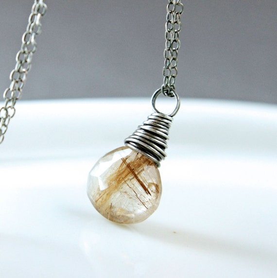 Golden rutilated quartz necklace gemstone jewelry gem stone for Golden rutilated quartz jewelry