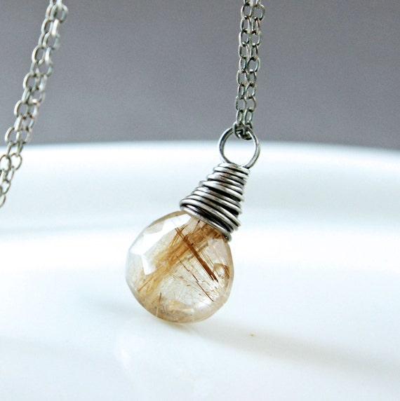 Golden Rutilated Quartz Jewelry Of Golden Rutilated Quartz Necklace Gemstone Jewelry Gem Stone