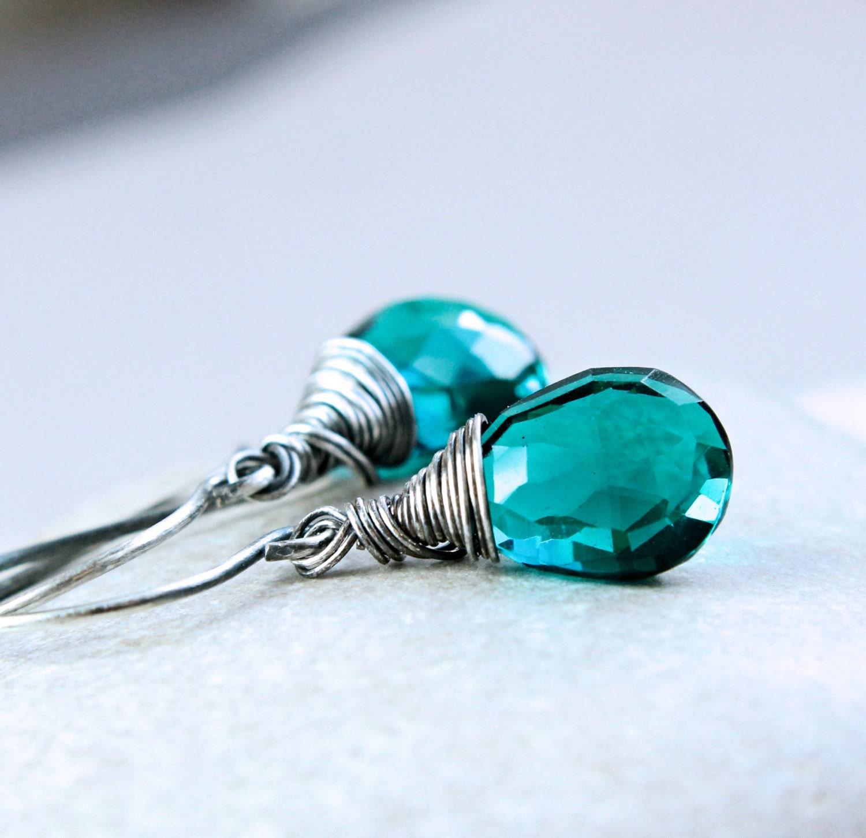 quartz earrings teal gemstone jewelry oxidized by hildes