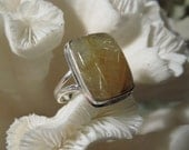 Beautiful Golden Rutile Agate Ring Size 8.5