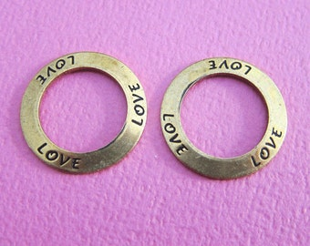 2 Brass Love Affirmation Rings 3600