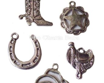 Cowboy Boot Horseshoe Cowboy Hat Saddle Star Western Charms Set of 5