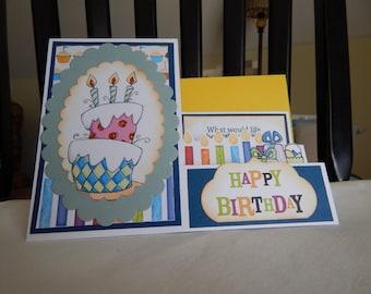 Handmade Birthday Card: complete card, handmade, balsampondsdesign, side step design, blue tones, girl birthday, child birthday, cake