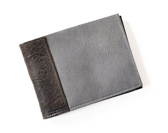 Leather Mens Wallet, Mens Slim Leather Wallet, Personalized Leather Wallet,  The Frankie Wallet in Granite Grey and Chocolate Brown