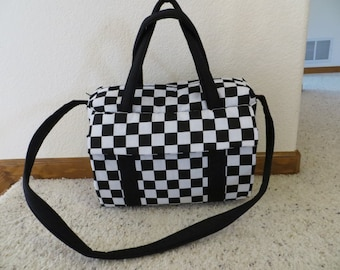 Black and white checkered flag EMIJANE diaper bag with changing pad