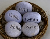Personalized mothers gift nest - Set of 5 engraved stones in bird nest - engraved personalized gift by sjEngraving