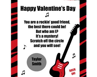 32 Personalized Scratch Off Valentine's Day Cards for Kids -  Red Zebra Rock Star