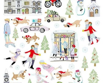 Snow Play Sticker • Snowing Glitter Sticker • Christmas Packaging, Gift Wrap, Favors, Holidays Decorating & Stocking Stuffers (SK4919)