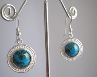 Eilat Stone chrysocolla malachite  large silver earrings Israel jewelry