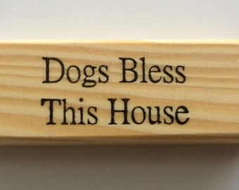 Rubber Stamp - Dogs Bless This House - Sweet Home Dog Pup Puppy Pet Quote Greeting - Altered Attic - 00350 - Mounted
