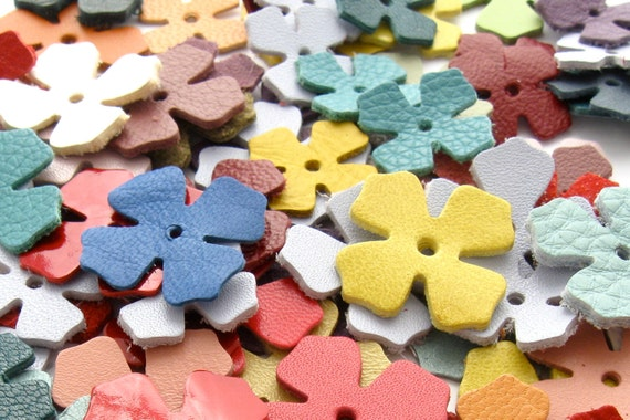 Leather die cut flowers leather jewelry supplies handmade for Leather flowers for crafts