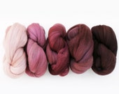 Superwash Merino Spinning Fiber 5 oz total, Ombre Gradient Set, Wine Mixer