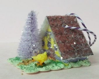 Vintage Putz Style Tiny Miniature Spring Easter Glitter Sugar House Yellow With Purple Dots Vintage Baby Chick Feather Tree Ornament