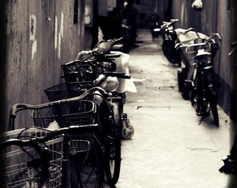 Old Shanghai - Bike Lane (black and white photography print urban life bicycles alley noir editorial street photography, China travel photo)