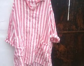 It's Back.....Red and White Striped Linen Dress One size Fits Most