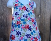 Pinafore Size 2T --- Painted Flowers Reversible Top (((ready to ship)))