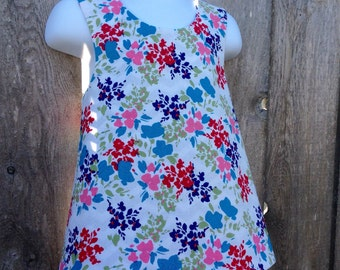 Crossback Top --- Painted Flowers Reversible Pinafore