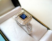 SALE....18kt White Gold Diamond and Princess Cut Sapphire Halo Engagement Ring with Milgain Beading