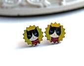Pretty little tuxedo cat earrings sweet lolita feminine cute white black yellow