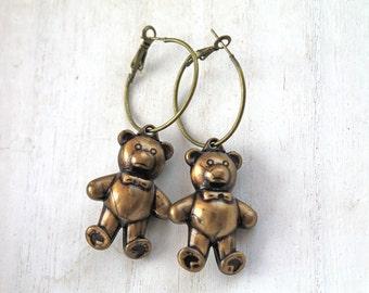 Cute little teddy bears  hoops earrings kawaii harajuku