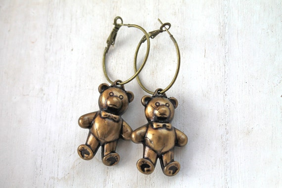 Cute little teddy bears  hoops earrings kawaii harajuku