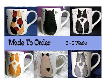 Made To Order Cat Mug With Heart Handpainted 12 Oz. Earthenware Clay Kiln Fired by Grace M Smith