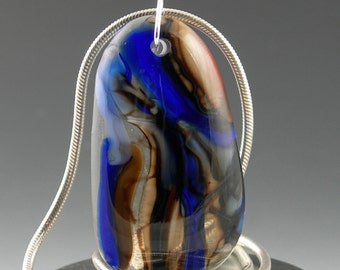Colorful Abstract Organic Fused Glass Pendant Necklace in Chocolate Brown Royal Cobalt Blue with Sterling Silver Bail