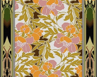 Pink and Orange Floral Design cross stitch pattern / Rene Beauclair / Arts and Crafts period / Antique Textile Pattern