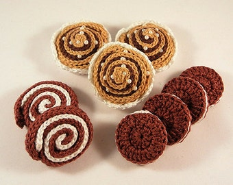 PFD Crochet Pattern - Playfood 1 - Cinnamon bun, Swiss roll and Oreo