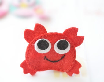 New! Set of 6pcs handmade felt crab--red (FT1038)