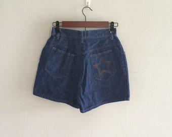 Denim highwaist shorts / 1970s star shorts / dark denim shorts