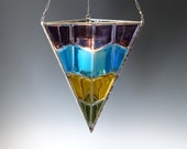 Chevron Fused Glass Lantern Stained Glass Hanging Candle Holder Modern
