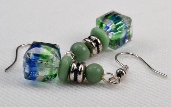 Blue Green Square Dangle Earrings, Crystal Cube Earrings, Aqua Turquoise Green, Rustic Silver Green Earring Drops