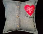 Bereavement Pillow, Bereavement Gift, Shirt Pillow, Memorial Pillow