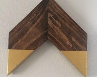 Gold dipped wooden chevron arrow geometric wall art