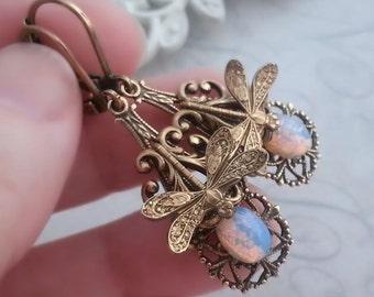 Fire opal Dragonfly earrings, milky fire opal earrings, Art Deco drop earrings, dragonfly jewelry, Victorian filigree jewelry, Art Nouveau