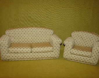 Fashion Doll Sofa - Armchair 11 1/2 Inch - Cream - Black - Handmade