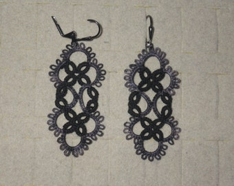 Black and gray tatted lace earrings, tatting jewelry, large lightweight earrings, goth, steampunk colors, custom colors, handmade lace