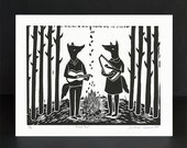 Fireside Duo - ORIGINAL - Hand-carved hand-pulled linocut print