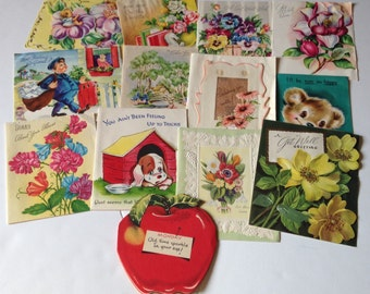 Lot of 13 Vintage Get Well Cards with Great Old Handwriting Great for Repurposing