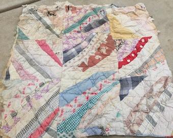 Vintage Hand Pieced String or Strip Pattern Cutter Quilt Piece
