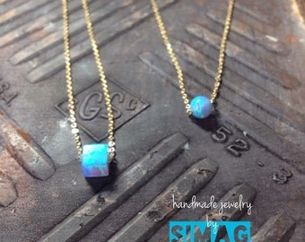 simple and beautiful - tiny opal on gold filled chain- handmade SimaG