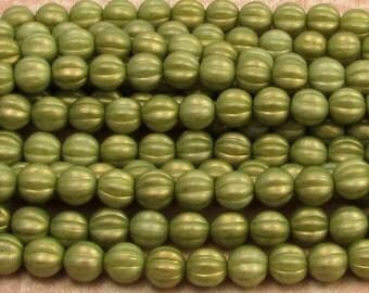 Czech Glass Beads, 8mm Melon, Celedon Green Halo, 25 Pc. C448
